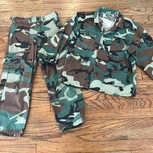 Vtg Ripstop Military Youth Camouflage Outfit M
